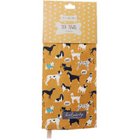 Lisa Buckridge Shruti Designs - It's A Dogs Life - Mustard Tea Towel