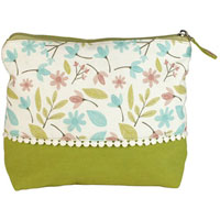 Shruti Wash Bag - Green Embroidered Dotty Lace|13.5000|7.4500